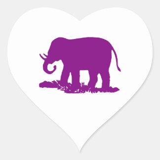 Purple Elephant Heart Sticker