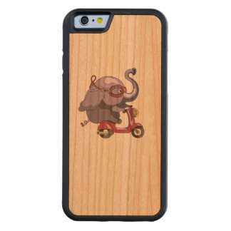 Purple elephant likes scooter! carved cherry iPhone 6 bumper case