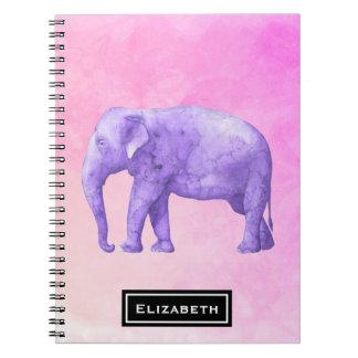 Purple Elephant on Dreamy Pink Watercolors Spiral Notebook