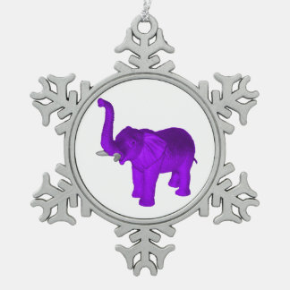 Purple Elephant Pewter Snowflake Decoration