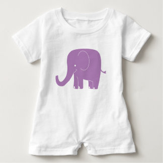 Purple Elephant Romper Baby Bodysuit