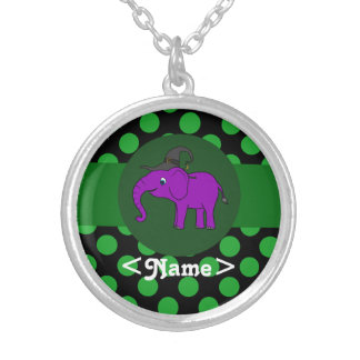 Purple Elephant Witch with Green Dots Round Pendant Necklace