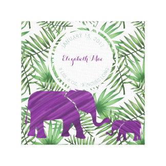 Purple Elephants Baby Birth Nursery Canvas Print