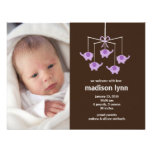Purple Elephants Baby Girl Birth Annoucement Personalized Invitations