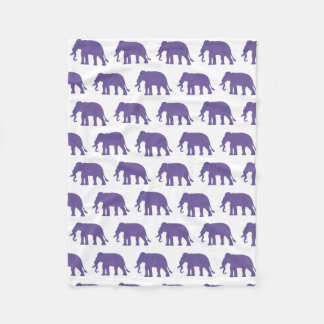 Purple elephants fleece blanket