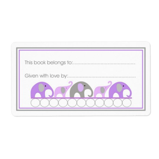 Purple Elephants Parade Bookplate Fill-in style Shipping Label