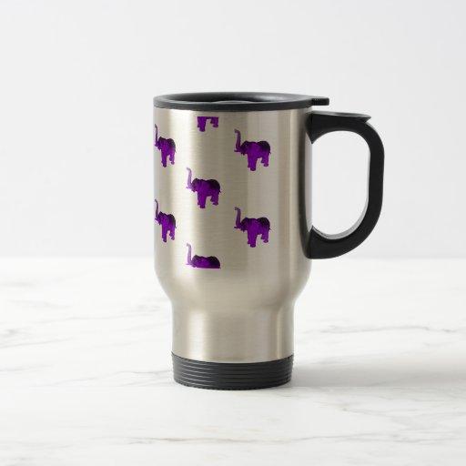 Purple Elephants Pattern Coffee Mugs