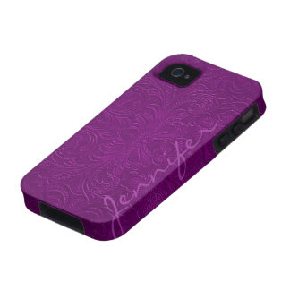 Purple Embossed Floral Design Suede Leather Look 2 iPhone 4 Cases