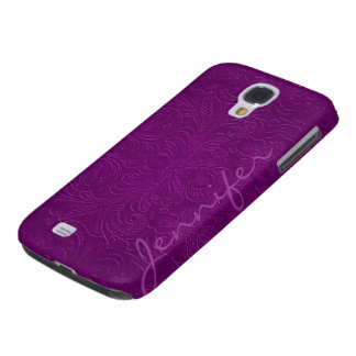 Purple Embossed Floral Design Suede Leather Look 2 Galaxy S4 Case