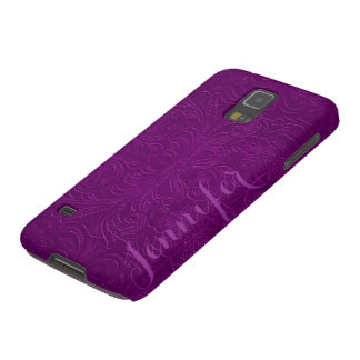 Purple Embossed Floral Design Suede Leather Look 2 Galaxy S5 Cases