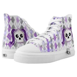 Purple Emo Cyberpunk Sugar Skull on Argyle Plaid High Tops
