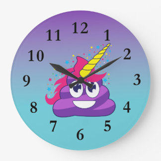 Purple Emoji Poop Unicorn Ombre Wall Clock