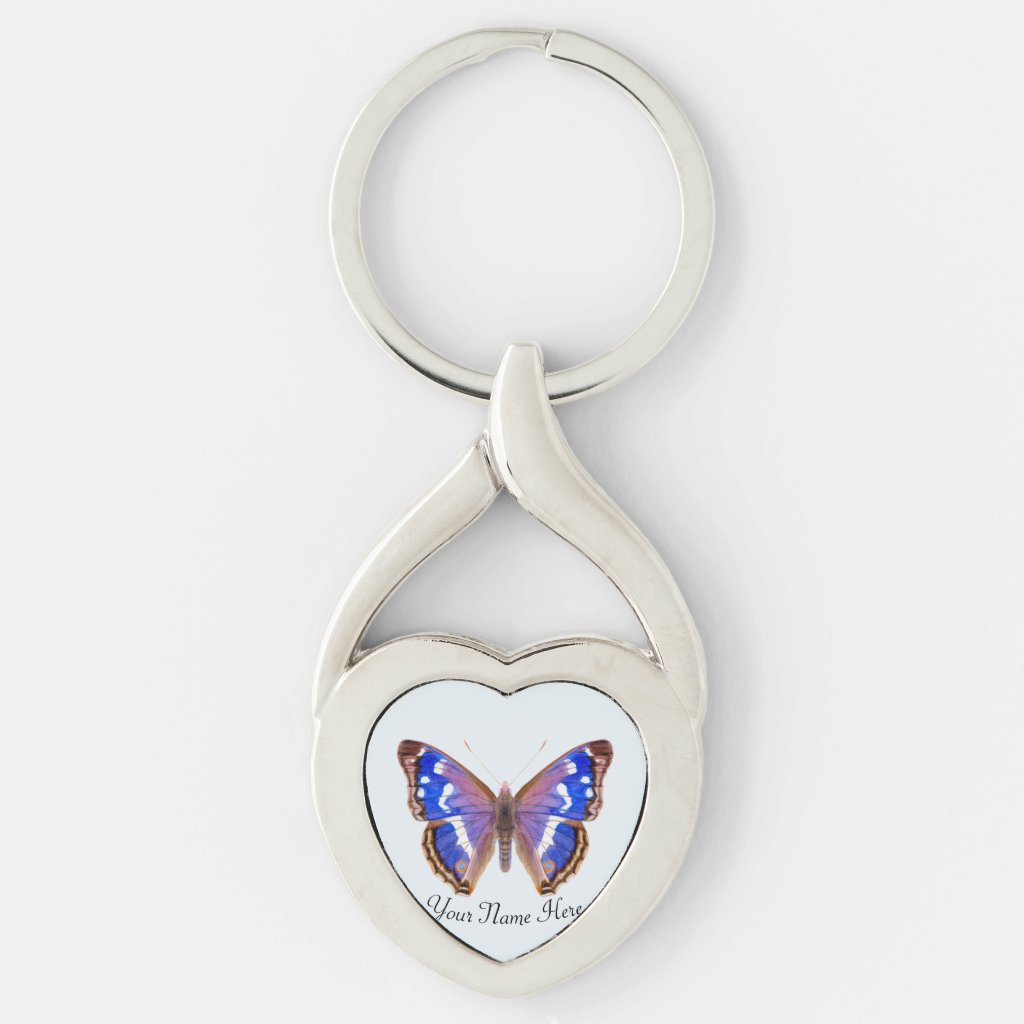 Purple Emperor Butterfly Hand Painted Artwork Key Ring