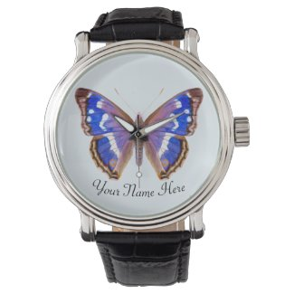 Purple Emperor Butterfly Hand Painted Artwork Watch