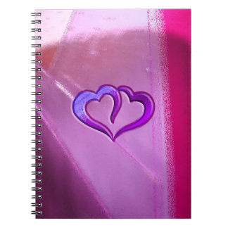 Purple Engraved Hearts Spiral Notebook
