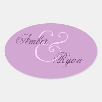 Purple Envelope Seal Wedding Oval Sticker