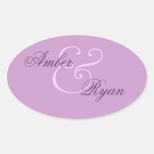 Purple Envelope Seal Wedding Sticker