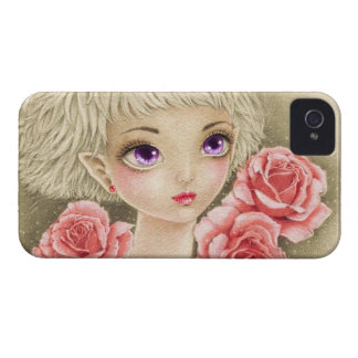Purple eyed girl with roses Case-Mate iPhone 4 cases