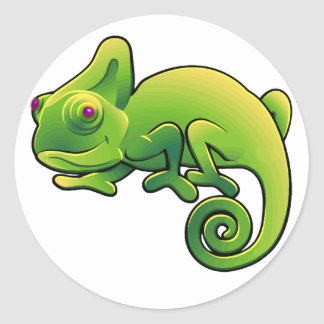 Purple Eyed Lime Green Chameleon Classic Round Sticker