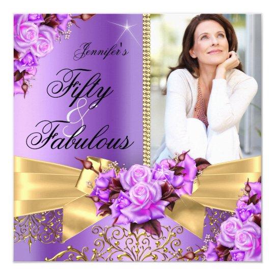 Purple Fabulous 50 Photo Gold Rose Bow Birthday