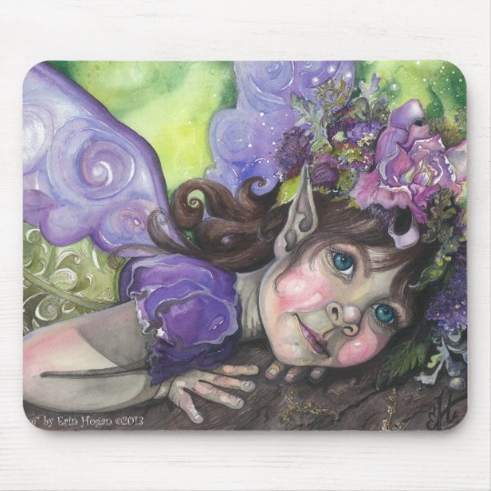 Purple fairy child watercolor mouse pad