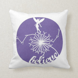 Purple fairy dandelion cushion