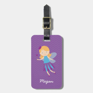 Purple Fairy on Chevrons Luggage Tag