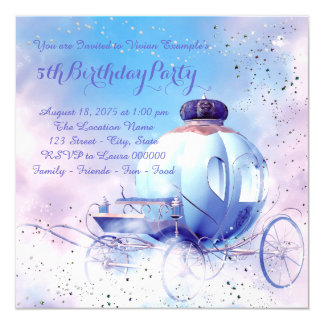 Purple Fairy Tale Princess Birthday Party 13 Cm X 13 Cm Square Invitation Card