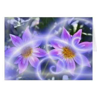 Purple Fairy Trails Dahlia On Canvas And Multiple Greeting Card