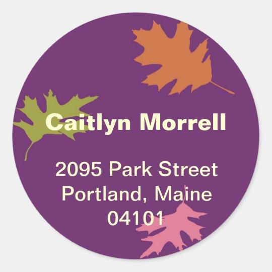 Purple falling leaves autumn modern address label