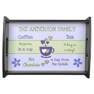Purple Family name coffee tea hot chocolate Serving Tray