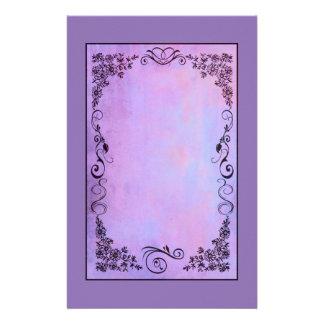 Purple Fancy Frame on a Lavender Background Customised Stationery