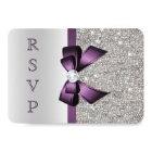 Purple Faux Bow Silver Sequins Diamond RSVP Card