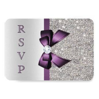 Purple Faux Bow Silver Sequins Diamond RSVP Card