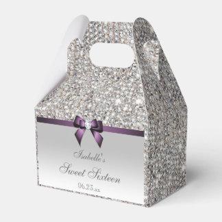 Purple Faux Bow Silver Sequins Sweet 16 Party Favour Box