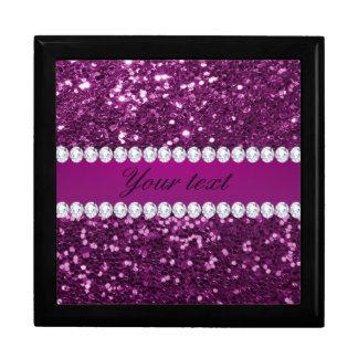 Purple Faux Glitter and Diamonds Large Square Gift Box