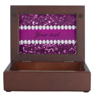 Purple Faux Glitter and Diamonds Memory Boxes