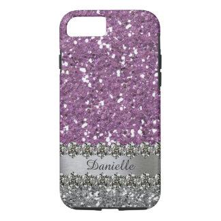Purple Faux Glitter Diamond Bling Personalized iPhone 8/7 Case