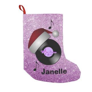 Purple Faux Glitter Santa Hat Retro Record Small Christmas Stocking