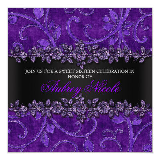 Purple Faux Glitter & Velvet Floral Sweet Sixteen 5.25x5.25 Square Paper Invitation Card