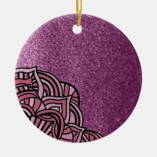 Purple Faux Glitter With Medallion Design Christmas Ornament