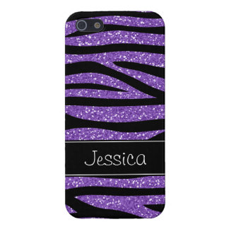 Purple Faux Glitter Zebra Personalized Case For The iPhone 5
