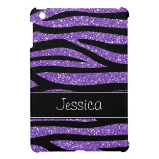 Purple Faux Glitter Zebra Personalized Cover For The iPad Mini