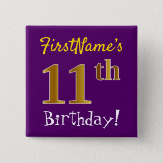 Purple, Faux Gold 11th Birthday, With Custom Name 15 Cm Square Badge