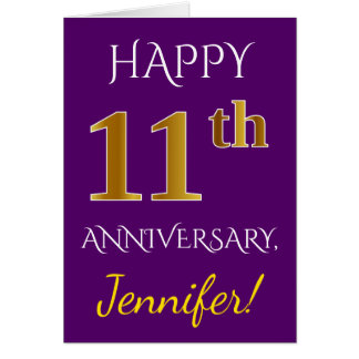 Purple, Faux Gold 11th Wedding Anniversary + Name Card