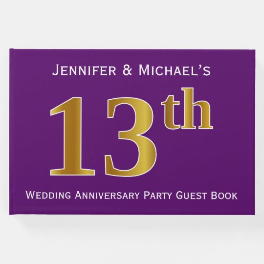 Purple, Faux Gold 13th Wedding Anniversary Party Guest Book