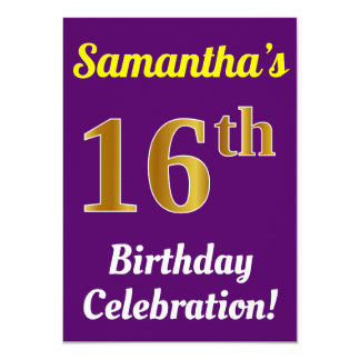 Purple, Faux Gold 16th Birthday Celebration + Name Card