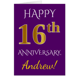 Purple, Faux Gold 16th Wedding Anniversary + Name Card
