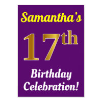17th birthday invitations announcements zazzle purple faux gold 17th birthday celebration name stopboris Images