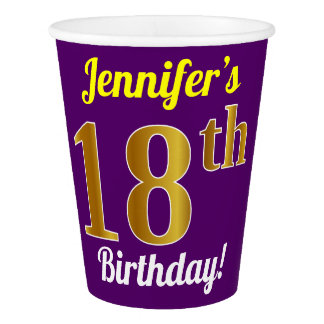Purple, Faux Gold 18th Birthday + Custom Name Paper Cup